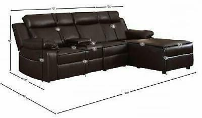 Small Space Brown Large Recliner Sectional Chaise with Console