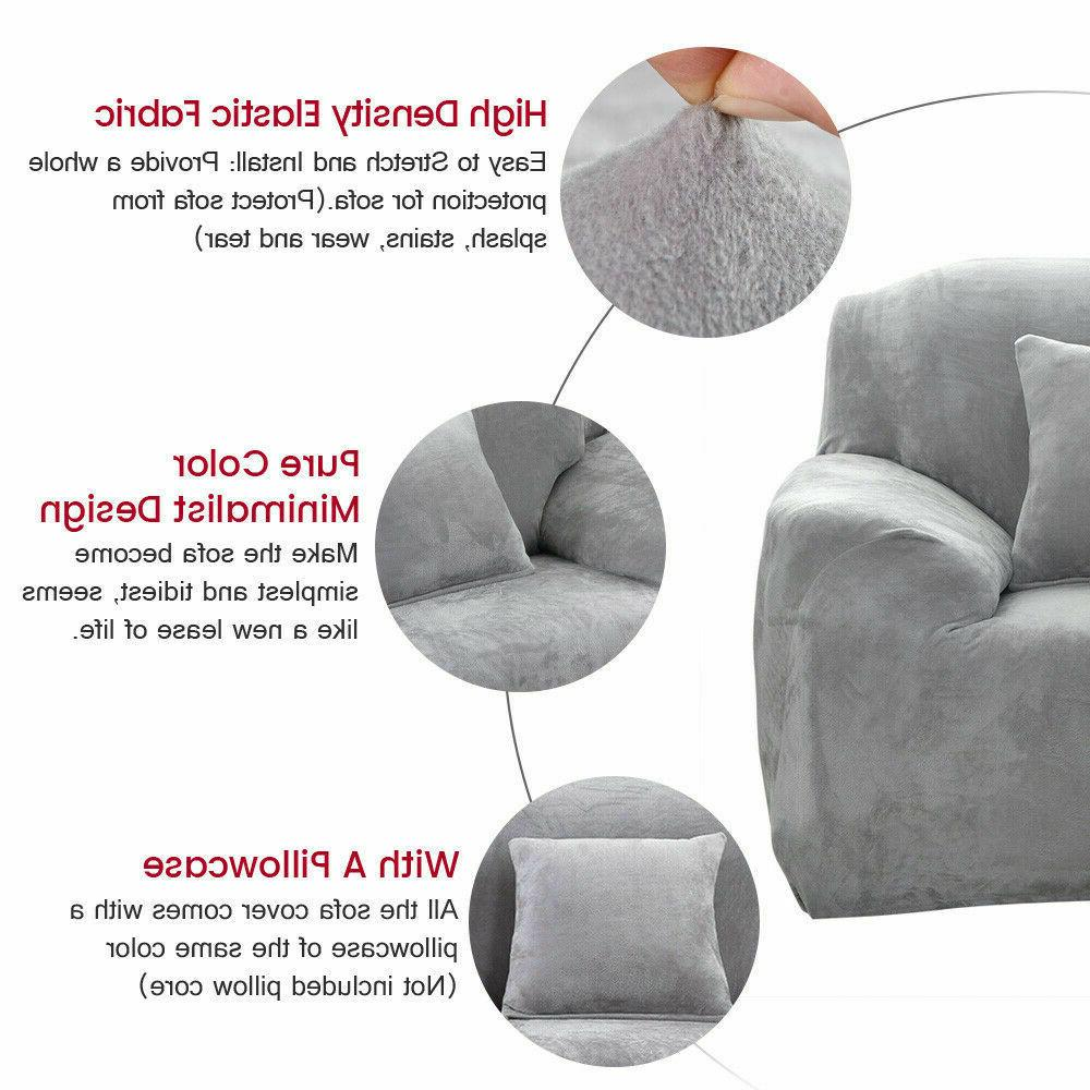 Stretch Plush Covers 1 3 4 Seater Couch Chair Slipcover