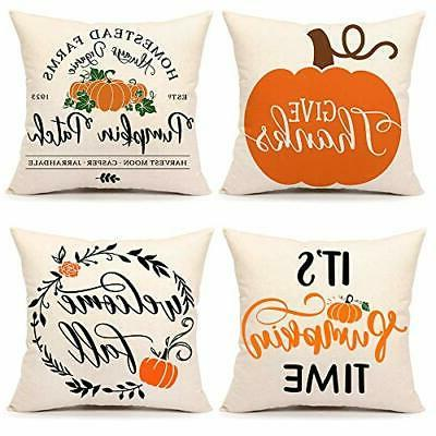 thanksgiving pillow cover pumpkin decorations couch18x18 inc