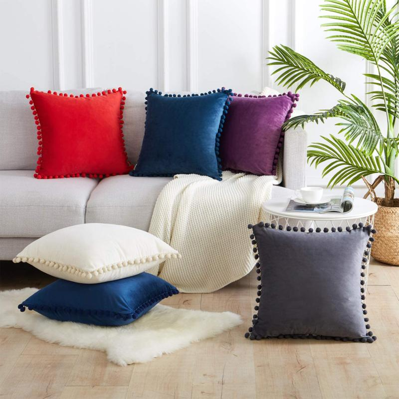 Top Finel Throw Pillow Couch Bed Soft Velvet Sol