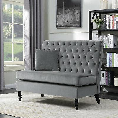 upholstered bench sofa settee tufted lounge chaise