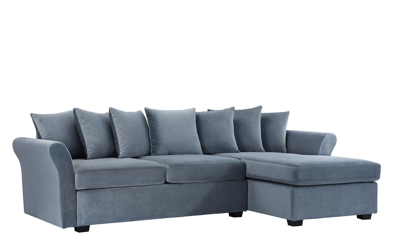 Velvet Sofa L-Shape Sectional Classic Couch with Chaise Lounge Grey