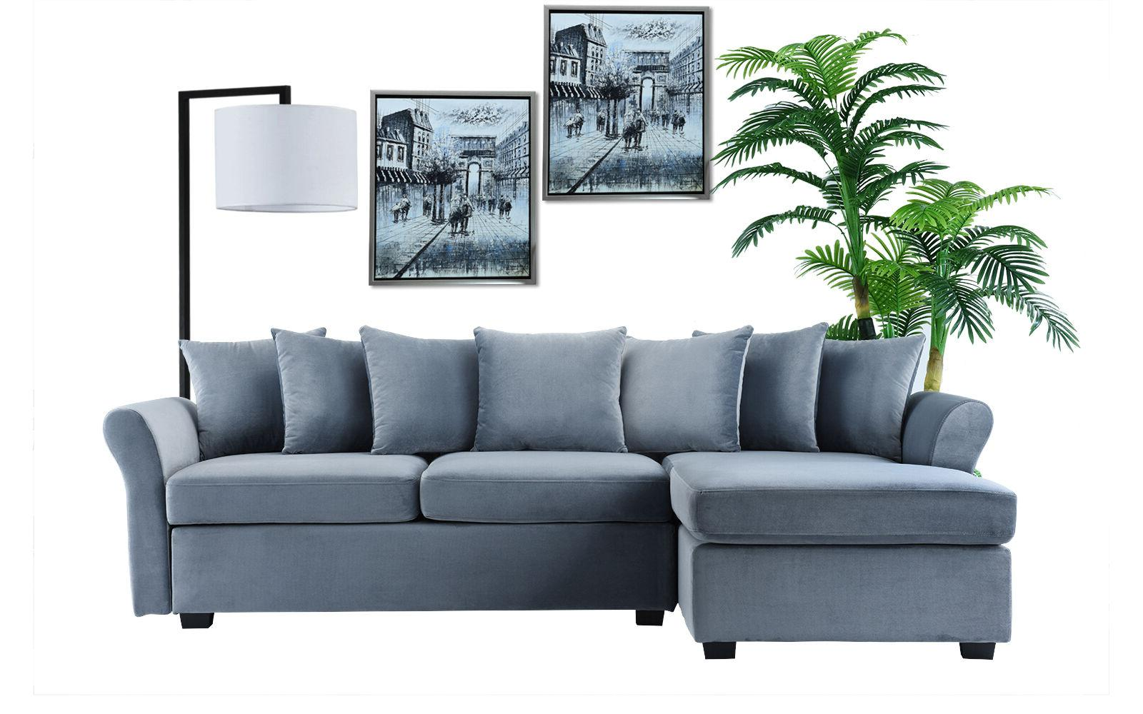 Velvet L-Shape Classic Couch with Chaise