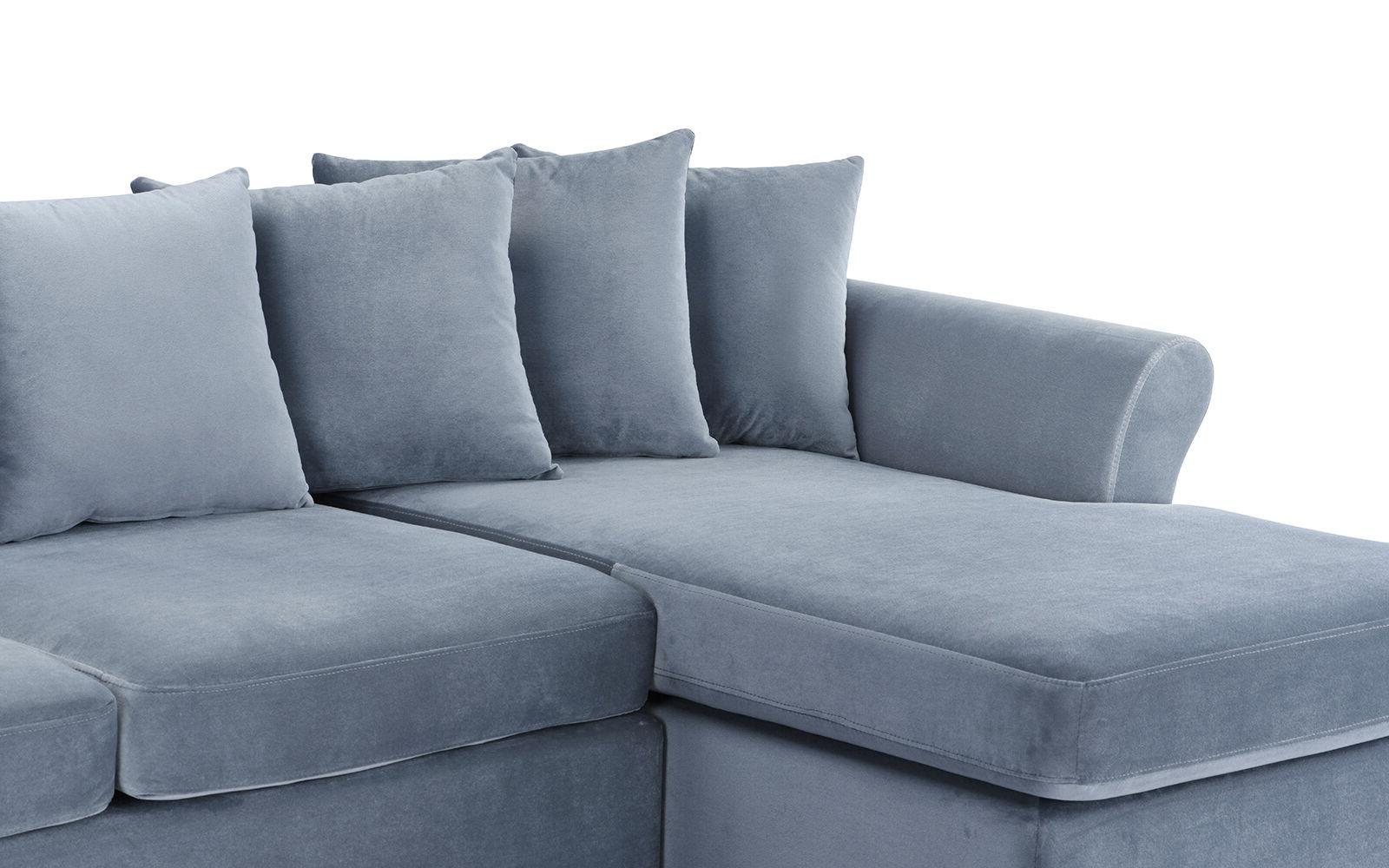 Velvet Classic Couch Chaise Grey
