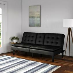 Memory Foam Sofa Bed Couch Convertible Futon Leather Cup Hol