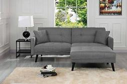 Mid-Century Futon Sofa Bed for Living Room Sleeper Couch, Li