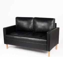mid century loveseat faux leather sofa couch