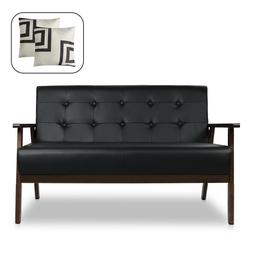 Mid Century Solid Loveseat Sofa Leather Couch 2-Seat Wood Ar