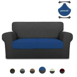 3 Pieces Super Stretch Chair Couch Cover - Dark Gray/Classic