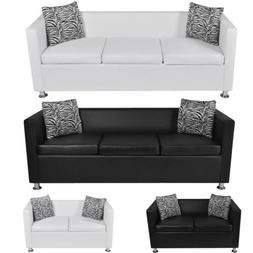 Modern Artificial Leather Sofa 2/3-Seater Couch +2 Pillow fo