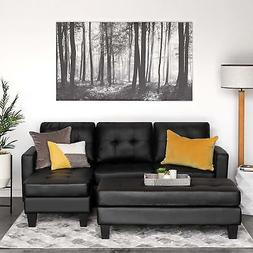 Modern Black Leather 3 Seater Sectional Sofa Couch Chaise Lo