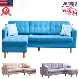 Modern Faux Chaise L-Shape Sectional Fabric Sofa Couch Loung
