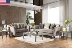 Modern Gray Sofa And Love-seat w Color Pillows Premium Velve