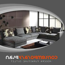 Modern Grey Fabric Sectional Sofa w Chaise and Pillows Conte