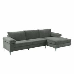 Modern Large Velvet Fabric Sectional Sofa, L-Shape Couch Wid