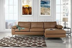 Modern Leather Sectional Sofa, L-Shape Couch w/ Chaise, Brow