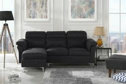 Modern Linen Fabric Sectional Sofa - Small Space Couch w/ Fl