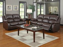 Modern Living Room Couch Set  - Brown Bonded Leather Reclini