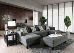 Modern Living Room Furniture - Gray Fabric Sectional Sofa Co