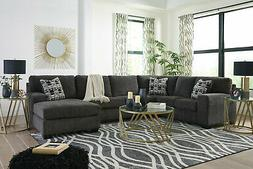 Modern Living Room Furniture - Gray Farbic Sectional Sofa Co