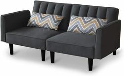 Modern Loveseat Sofa with Pillows Linen Fabric Couch with Ar
