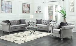 Modern Luxe Glam Living Room 3 Piece Sofa Loveseat Chair Cou