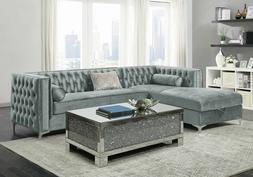 Modern Sectional Living Room Furniture Gray Sofa Couch & Sto