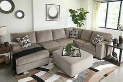 Modern Sectional Living Room Furniture Tan Chenille Sofa Cou