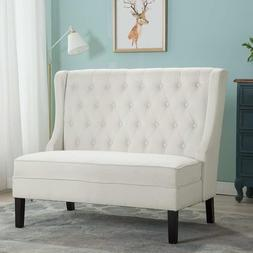 Modern Settee Button Tufted Upholstered Fabric Sofa Couch Lo
