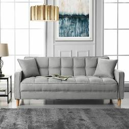 Modern Small Space Living Room Sofa Linen Fabric Square Tuft