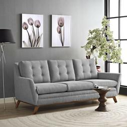 Modway Beguile Upholstered Fabric Sofa in Expectation Gray