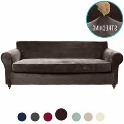 MOYMO 2-Piece Stretch Velvet XL Couch Slipcover, Covers for