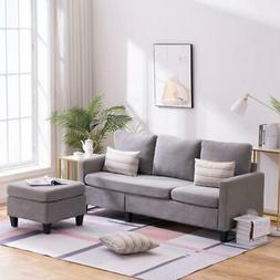 Mult-use Cotton and Linen Sectional Sofa L-Shaped Couch W/Re