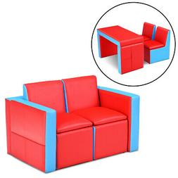 Multi-functional Kids Sofa Table Chair Set Couch Storage Box