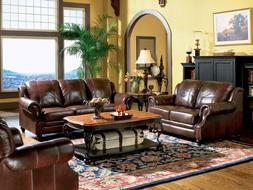 NEW MAJESTIC Traditional Living Room Furniture Brown Real Le
