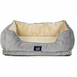 New Serta Quilted Memory Foam Couch Dog Bed - Tan & Grey
