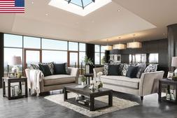 NEW Sofa And Love-seat w/ Black Pillows Flared Arms Welting