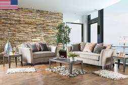NEW Sofa And Love-seat w/ Coral Pillows Flared Arms Welting