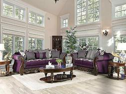 NEW Traditional Living Room 2 piece Wood Trim Purple Fabric