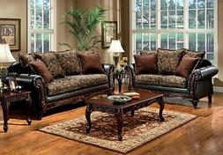 NEW Traditional Living Room Furniture Wood Trim Brown Fabric