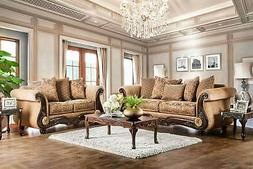 NEW Traditional Living Room Wood Trim & Tan Fabric Sofa Couc