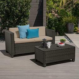 Outdoor Patio Loveseat Couch and Coffee Table Set, Dark Brow