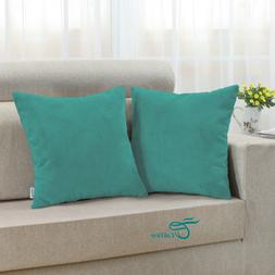 Pack of 2 CaliTime Pillow Covers Cases Home Decor Teal Cordu