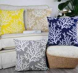 CaliTime Pillow Cases Shells Cushion Covers Coral Tree Bed B