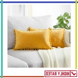 PILLOW COVER with Pom Poms Velvet Solid Cushion Case for Cou