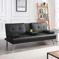 PU Leather Sofa Bed Futon Home Living Room Guest Sleeper Cou