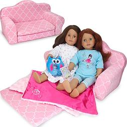 """Pull Out Sofa Double Bed for 18"""" American Girl Doll Furnitur"""
