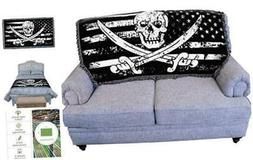 Pure Country Weavers Pirate American Flag Blanket Throw for
