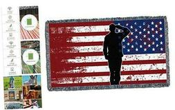 Pure Country Weavers US Military Salute Flag Blanket Throw f
