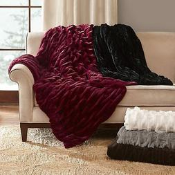 """Madison Park Reversible Ruched Faux-Fur 50 """"x60 """" Throw, Bla"""